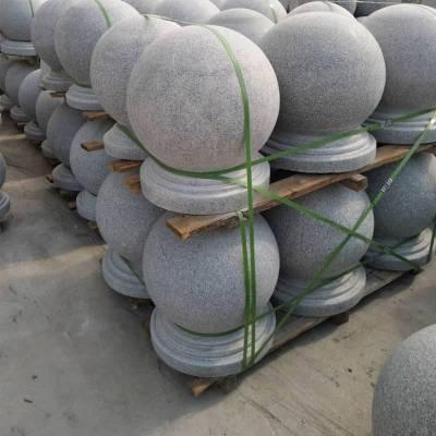上饶市天然花岗岩拦路石球芝麻灰挡车球哪里有卖 500mm圆墩?文博石材可以帮助您