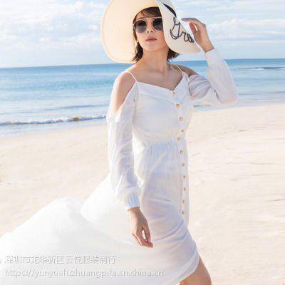 欢乐颂2刘涛安迪唐艺昕明星同款夏季新款露肩吊带连衣长裙便宜批发货源