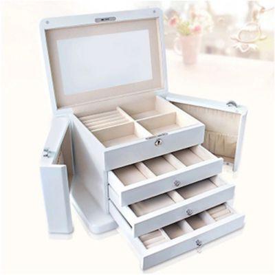 首饰盒木质欧式多层带锁大容量珠宝首饰盒子戒指项链手镯收纳盒