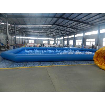 很多人玩水的充气池子定做 游泳池常规高度的多少钱一平 蓝色长方形充气水池
