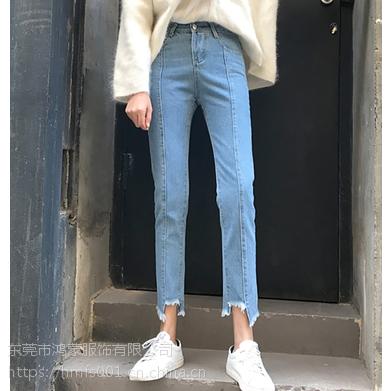 时尚女装批发厂家直销便宜衣服装进货市场牛仔裤长裤弹力小脚裤潮