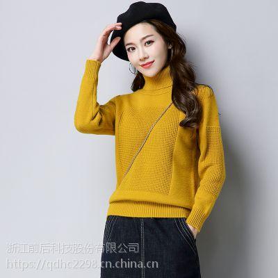 秋冬季新款女式针织打底羊毛衫短款加厚高领气质时尚纯色毛衣