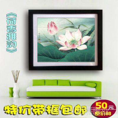 带框中国画 李晓明工笔花鸟字画荷塘 现代客厅卧室餐厅装饰画d220