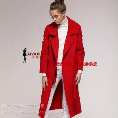 2017年秋冬新款阿尔巴卡苏力羊驼绒大衣女装中长款宽松羊绒毛呢外套