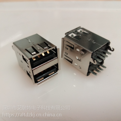 USB AF双层母座 双层180度 8P针 带卡勾 USB双层 180度 USB AF