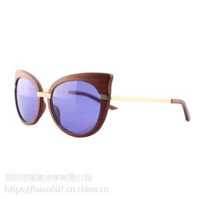 深圳木眼镜厂-女款木太阳镜工厂-莱奥光学0007款