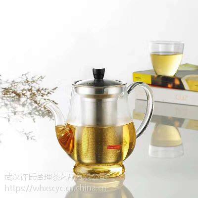 武汉许氏茶艺食品级玻璃花茶壶带不锈钢滤网茶具批发