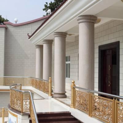 长沙别墅高档铝雕花楼梯 镜面K金铝镂空护栏
