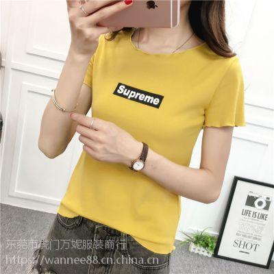 便宜女装短袖T恤韩版时尚小衫纯棉T恤批发广州尾货批发市场