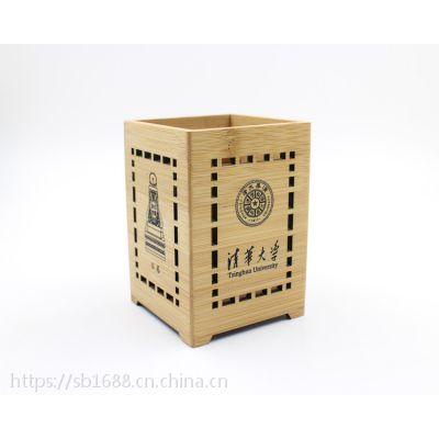 竹木工坊工厂供应高校纪念笔筒 竹木材质学校校庆礼品笔筒定制