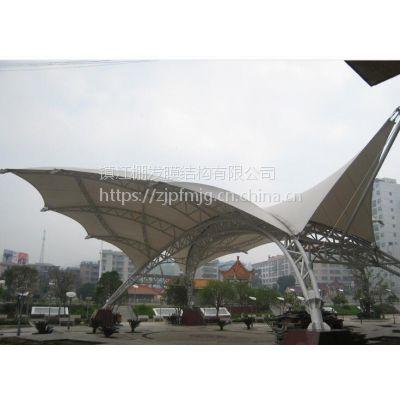 江苏膜结构车棚常州遮阳伞室外膜结构景观棚设计专业出裁剪图