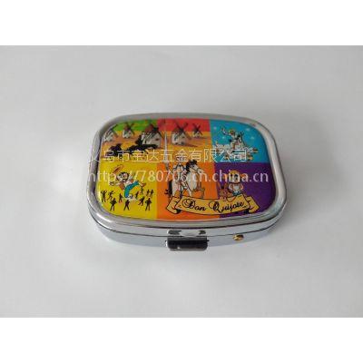 药盒厂家供应金属滴胶小方形两格药丸盒 环保金属小药盒