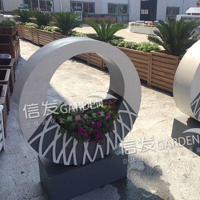 道路护栏 隔离带隔离栏花箱组合 戒指花箱 创意