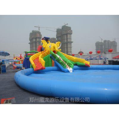 大型支架泳池加厚 水上乐园滑梯组合 大象章鱼滑梯充气游泳池
