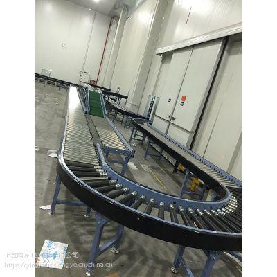 伸缩式输送线180度转弯机电商快递行业系统输送线动力滚筒输送线