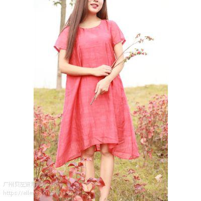 欧美风2018春夏新款棉麻休闲系列大码女装连衣裙,广州品牌女装折扣批发