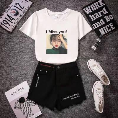 松紧腰女式宽松短裤2018夏季新款女裤大码胖MM直筒裤牛仔裤女短裤