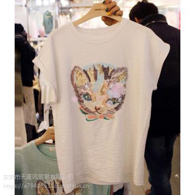 2019夏季便宜T恤纯棉短袖圆领印花T恤库存服装的尾货批发市场