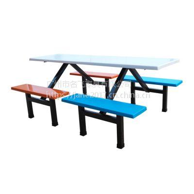 贵港食堂餐桌椅,简约现代奶茶店快餐店八人位连体桌椅