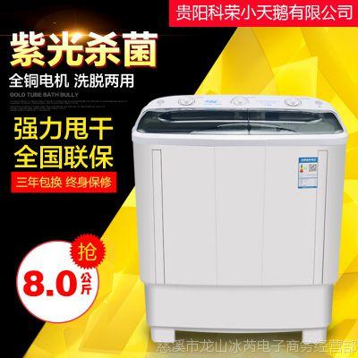 贵阳科荣小天鹅8公斤KG双桶小型家用脱水甩干半自动洗衣机宿舍