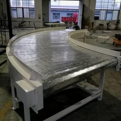 镀锌链板转弯输送机 流水线转弯角 180度90度环形弧形运输机 耐高温传送带 德隆非标定制