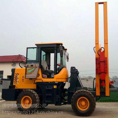 装载机式护栏打桩机新修路段安装波形护栏专用打桩机