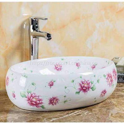 贴花彩色新款中式小碎花创意陶瓷艺术盆洗手盘