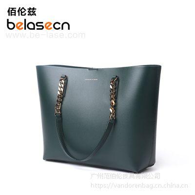 2017新款广州手工厂包大包批发水桶包欧美时尚真皮女士包盖式水桶包 牛皮手提包
