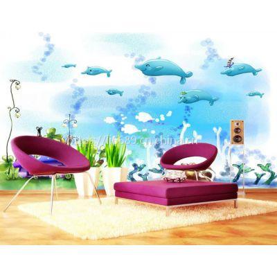 『无缝壁画厂家直销|高清壁纸壁画厂家』儿童乐园海底世界背景墙