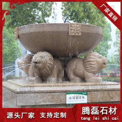 石雕花钵 黄锈石仿古花盆园林景观雕塑摆件