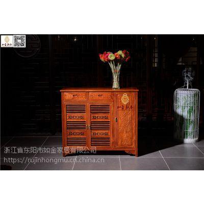木雕小件供应-实木古典中式木雕小件-如金红木鞋柜