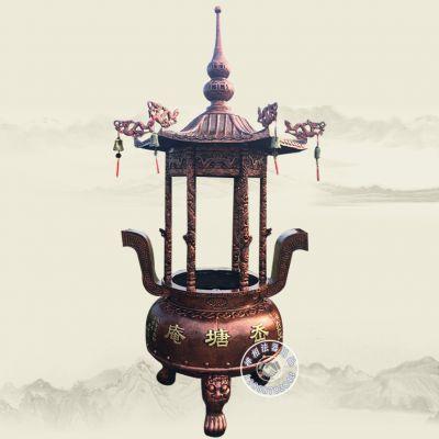 厂家直销宗教法器(圆形)铸铁香炉、道观香炉。