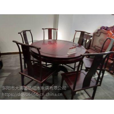 澳门大清御品红木家具巴里黄檀1.2米素面圆台7件套