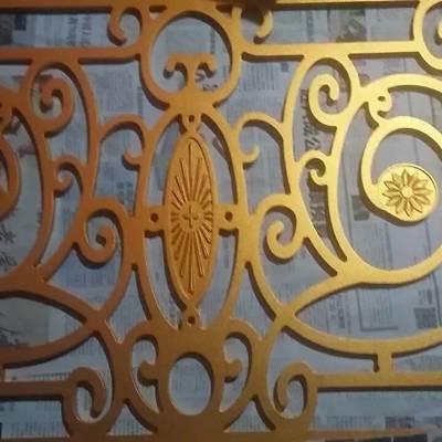 山东订制加工铝板抛光电镀玫瑰金 雕刻玫瑰屏风