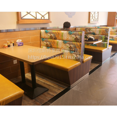倍斯特现代中式实木双面卡座主题中餐厅湘菜厂家定制