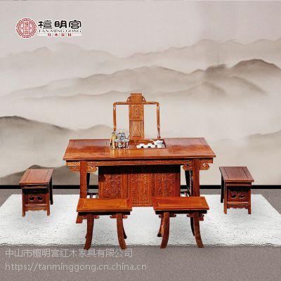 檀明宫红木家具紫檀花梨木中式将军茶台六件套实木茶桌椅古典中式