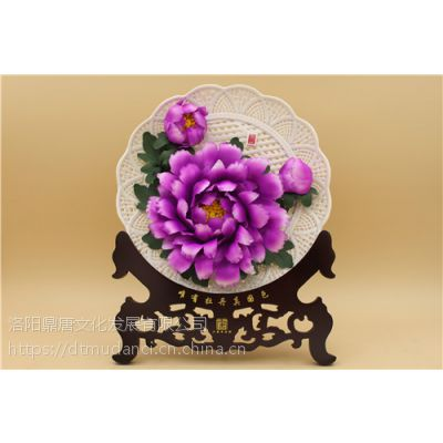 春节工艺礼品定制 釉上彩牡丹瓷