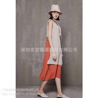 广州品牌女装新品夏装容子木折扣批发尾货棉麻连衣裙