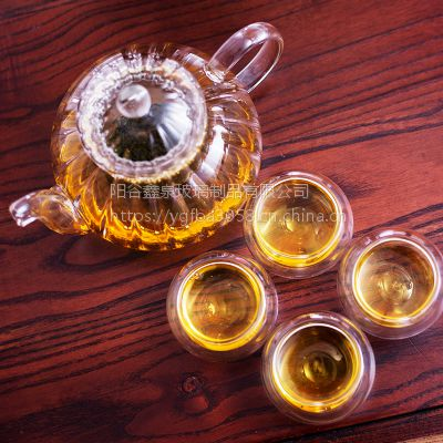 青岛玻璃功夫茶具青岛高硼硅玻璃阳谷亿泉口杯批发山东市场直销