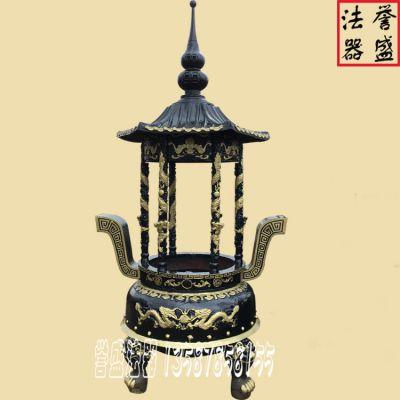 供应定做苍南誉盛法器佛教圆形带盖六龙柱香炉(66)