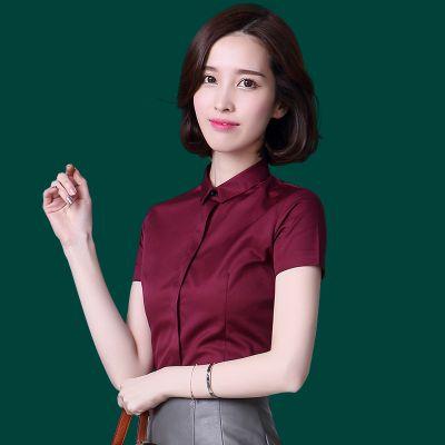 株洲烔烁职业女式衬衫夏季方领短袖正装OL气质修身白色衬衣批发