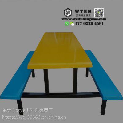 天津现代中式大食堂餐桌板凳,长桌椅长板凳的食堂餐桌椅