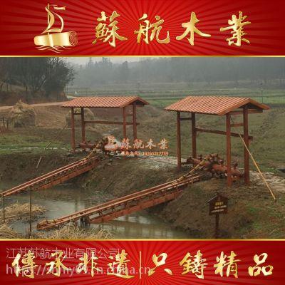 厂家定制直径3米防腐木水车/小型木质子母水车群/龙骨脚踏风水轮