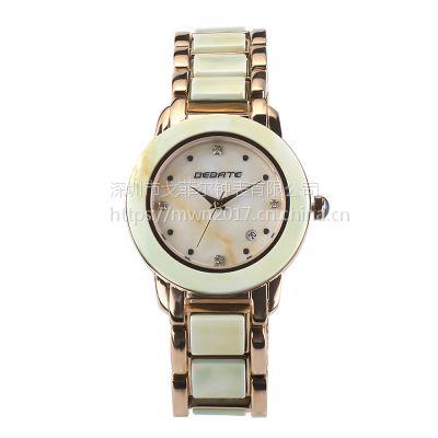 BEDATE品牌时尚新款情侣手表防陶瓷保健表锗石养生表带防水石英表