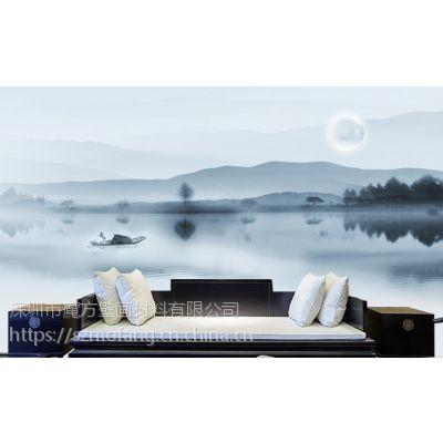 新中式写意壁画 餐厅意境水墨山水墙纸 客厅背景无纺布壁纸魔方壁画
