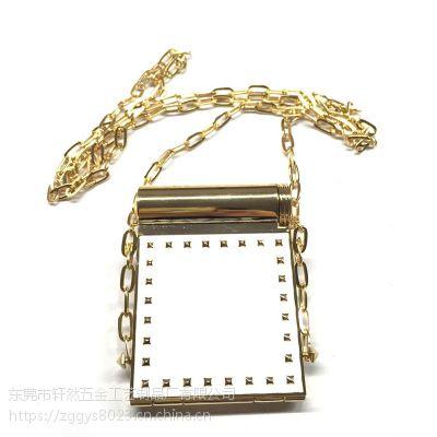 烟盒化妆镜 滴胶长方形链条小镜子 支持大批量预订 口红管镜子