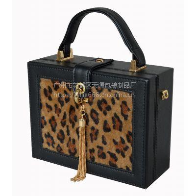 2017新款时尚高品质豹纹皮盒子晚宴包伴娘手提包复古风优雅精致