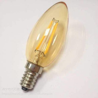 LED灯丝灯 茶色镀金色玻璃泡壳 C35 E14 4W 可控硅调光 2700K