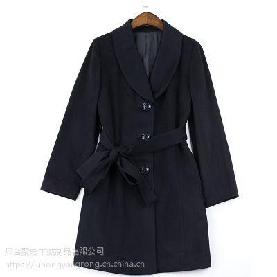 """供应""""女士毛呢""""纯色单面呢子修身羊绒大衣黑色(S-XL)"""