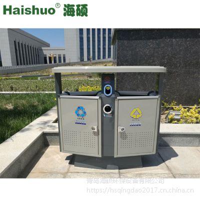 青岛户外垃圾桶果皮箱 镀锌板垃圾箱 果壳箱厂家HS-02长方体可定制